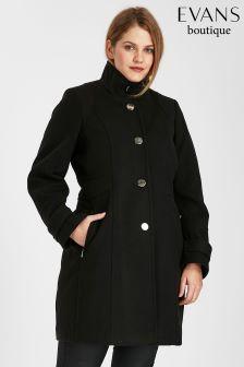 Evans Black Zip Funnel Coat