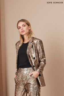 Sofie Schnoor Gold Snake Effect Sequin Blazer