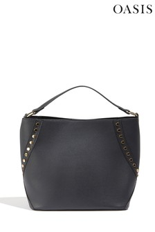 Oasis Black Sammy Stud Hobo Bag