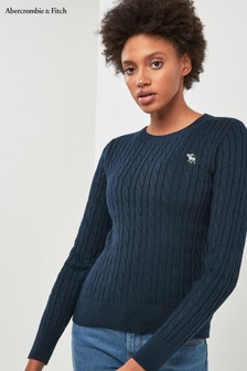 Abercrombie & Fitch Navy Cable Moose Knit