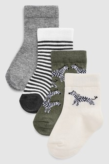 Zebra Socks Four Pack (Younger)
