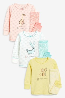 Farm Animal Character Snuggle Pyjamas Three Pack (9mths-8yrs)