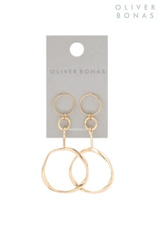 Oliver Bonas Gold Delia Twisted Bar Round Earrings