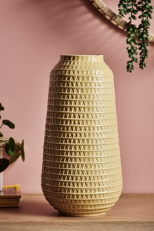 Large Embossed Ceramic Vase