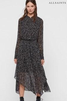 AllSaints Leopard Print Valeria Midi Dress