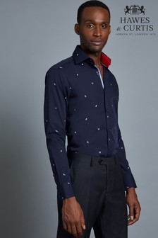 Hawes & Curtis Blue Embroidered Bird Shirt