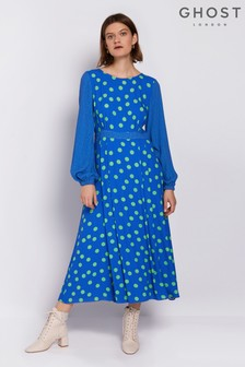 Ghost London Blue Emily Spot Print Crepe Dress