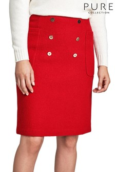 Pure Collection Red Wool Blend Button Mini Skirt