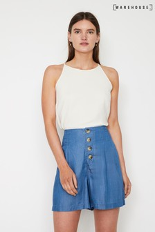 Warehouse Blue Pleated Button Through Short
