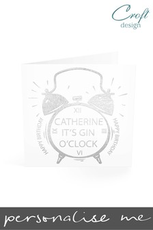 Personalised Gin O'Clock Birthday Single Card by Croft Designs