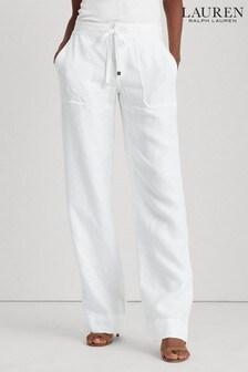 Lauren Ralph Lauren® White Wide Leg Linen Trousers