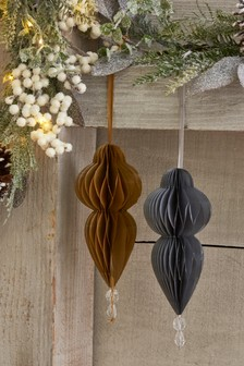 Set of 2 Paper Beaded Hanging Decorations