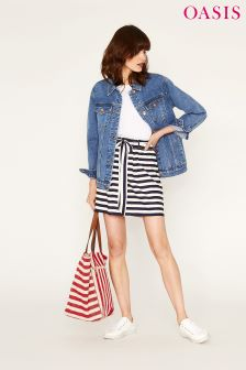 Oasis Blue Stripe Paperbag Skirt