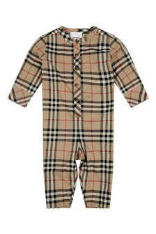 Baby Beige Check Cotton Romper