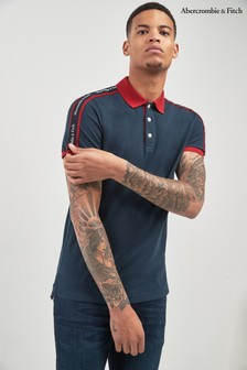 Abercrombie & Fitch Navy Tape Polo
