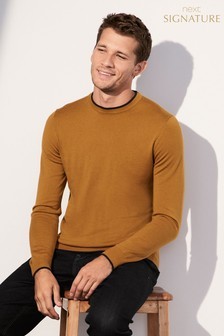 Tipped Merino Crew Neck Jumper