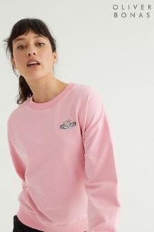 Oliver Bonas Pink Embroidered Swan Pink Sweatshirt