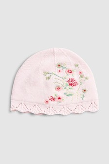 Floral Embroidered Knitted Hat (0mths-2yrs) 56eb9676353