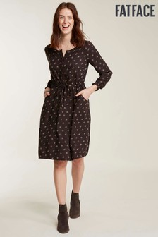 FatFace Black Nicola Tulip Ditsy Dress