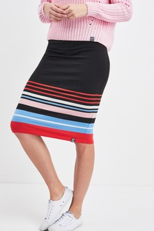 Superdry Black Stripe Midi Skirt