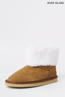 River Island Brown Faux Fur Lined Boot