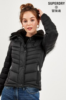 Superdry Black Fuji Coat