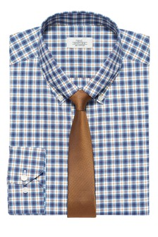 Check Slim Fit Single Cuff Button Down Shirt And Tie Set