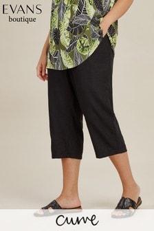 Evans Black Curve Linen Crop Trouser