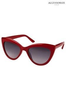 Accessorize Red Ava Classic Cat-Eye Sunglasses
