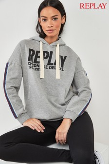 Replay® Grey Logo Hoody