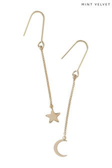 Mint Velvet Gold Tone Moon And Star Drop Mismatch Earrings
