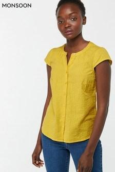 Monsoon Ladies Yellow Romano Short Sleeve Top