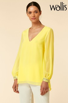 Wallis Lemon Sequin Cuff Top