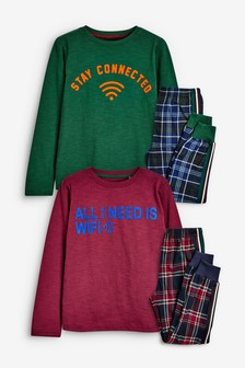 2 Pack Slogan Woven Check Cosy Fleece Leg Pyjamas (3-16yrs)
