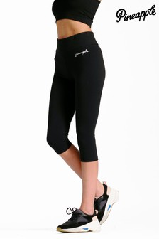Pineapple Black Band Crop Leggings