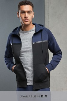 Navy/Black Scuba Zip Through Hoody
