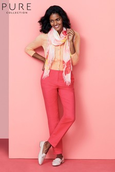 Pure Collection Pink Cotton Stretch Sateen Ankle Trousers