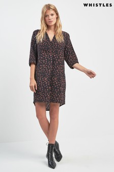Whistles Black Cheetah Lola Dress