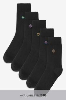 """Набор из пяти пар носков с вышитой буквой """"N"""""""