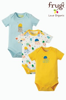 Frugi Organic White Jellyfish Print Bodysuits Eczema Three Pack