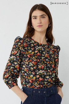 Warehouse Black Rose Floral Gathered Neck Top