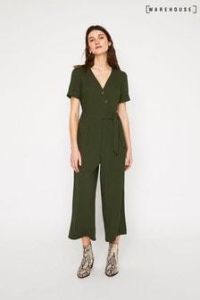 Warehouse Green Asymmetric Button Jumpsuit
