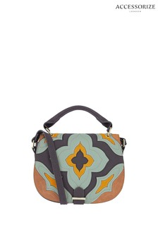 Accessorize Blue Paddy Patchwork Saddle Bag