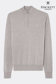 Hackett Grey Cotton Silk Half Zip Knitwear Jumper