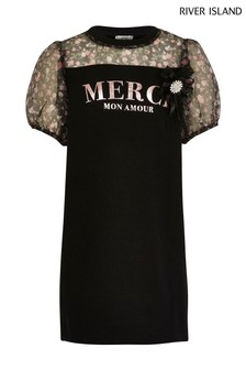 River Island Black Organza Sleeve Merci Dress