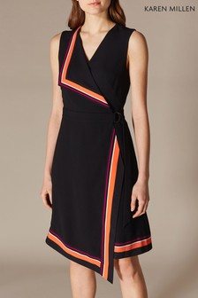 Karen Millen Black Stripe Border Print Dress