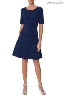 Gina Bacconi Blue Brie Crepe Dress