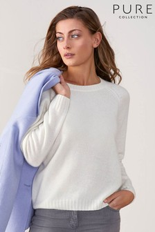 Pure Collection White Cashmere Lofty Sweatshirt