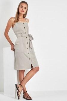 98a835c2c4d Grey · Khaki · Pinafore Button Dress