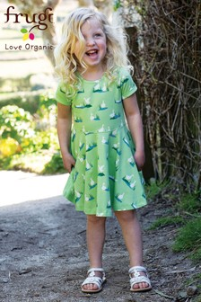 Frugi Green Organic Skater Dress In Duck Print